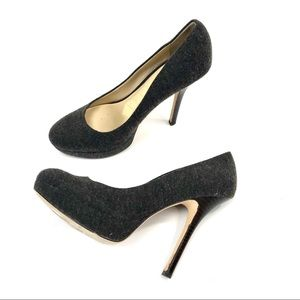 Joan & David charcoal gray DVFLIPP heels